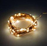 Lumières à piles blanches chaudes de luciole de câblage cuivre des lumières 16.4FT de chaîne de caractères de la fée 2AA 40 DEL