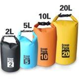 Droge Waterdichte Zak van Drybag van het Geteerde zeildoek van pvc van het Pak van het Embleem van de douane de Waterdichte Oceaan Openlucht Kleine Zwemmende 100L 20L 30L