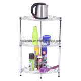 DIY 3 Tiers Metal Kitchen Corner Wire Shelf com PP Mat