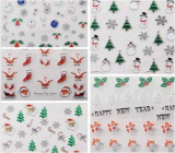 стикер ногтя стикеров искусствоа ногтя воды снежинки Санта рождества 3D