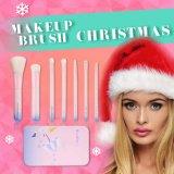Hermosa pincel de maquillaje caja de metal 7PCS fijó para el regalo de Navidad