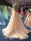 Amostra real cor-de-rosa do vestido de noite de 2017 Tulle