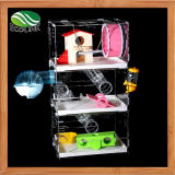 투명한 아크릴 햄스터 Gerbil 쥐 세번째 단계 극장 설치류 집 콘도 감금소 별장 그네 시소 나무로 되는 장난감