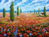 Champ de campagne paisible Art de fleurs Applique sur toile