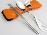 Edelstahl-Arbeitsweg-Tischbesteck-gesetztes bewegliches Tischbesteck eingestellt mit Beutel-Beutel