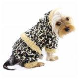 Vestiti su ordinazione del cane di animale domestico con il panno morbido del leopardo