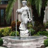 La nature en marbre blanc de Pierre Flouring Lady Statue Jardin d'eau Fontaine