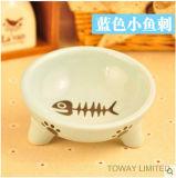 O animal de estimação de alimentação da qualidade rola porcelana bacias bonitos do gato da impressão
