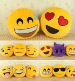 노란 색깔 둥근 베개 견면 벨벳 Emoji 장난감 5inch