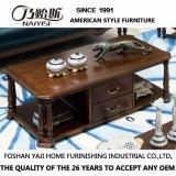 Table de café ronde en bois massif de conception simple pour salle de séjour à usage domestique avec bonne qualité As841