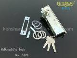 Bloqueo de aluminio de la puerta deslizante 5128 con el cilindro de cobre amarillo 3keys