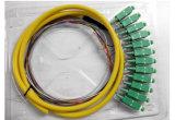 9/125 Sm van uitstekende kwaliteit SC/PC 12 Fanout van de Vezel van de Kern het Optische Koord van het Flard van de Vlecht