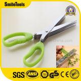 Cisaillement de ciseaux de cuisine d'herbe de lames des légumes 5 d'acier inoxydable