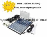 Portable do carregador do banco do jogo do painel do sistema de iluminação da potência solar de bateria de lítio 10W