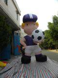 Modello gonfiabile per la pubblicità, ragazzo del fumetto di esplosione con il modello di calcio da vendere