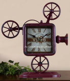 포도 수확 장식적인 고대 까만 영사기 모양 금속 탁상용 시계