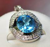 Argento 925 con il pendente blu del Topaz (LBT-1003)