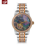 Kundenspezifische Firmenzeichen-Form-rostfreie Quarz-Dame-Armbanduhr