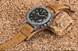 Grande vigilanza del quarzo della manopola di disegno di modo degli uomini di tuffo 100m degli orologi di cuoio militari unici di sport