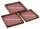 S/3 carré en bois de café d'impression personnalisée desservant le bac W/la poignée