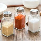 소금과 고추 스테인리스 뚜껑 75ml를 가진 유리에 의하여 밀봉되는 음식 콘테이너를 가진 유리제 향미료 병 음식 저장 단지