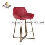 Salle à manger ensemble de la barre des meubles en acier inoxydable de tissu rouge et gris PU Tabouret Président