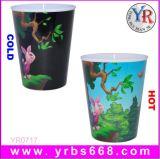 2014 Venta caliente regalos promocionales de cambio de color sensible al calor de la copa de plástico reutilizables.