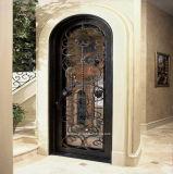 氷ガラスが付いている手作りされた機密保護の錬鉄の単一のドア