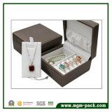 Caja de joyería de plástico personalizado con cuero de la PU