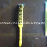 Amarillo color plástico mango de acero alambre cepillo de pulido (yy-512)