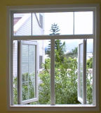 低価格バルコニー(PCW-008)のための一等級の二重ガラスをはめられたPVC開き窓のガラス窓