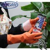 Nmsafety желтый латекс Water Proof Стиральная перчатки Хозяйственные перчатки