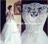 Перлы Tulle a Bridal мантии шнурка расположенный ярусами - линия платье венчания A128
