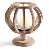 طبيعيّة خشبيّة قاعدة فانوس مع [متل بلت] وزجاج داخلا