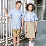 Customized School Uniform Blue Strip Shirts Wholesale
