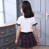 Unbelegte weiße Baumwollsommer-Ebenen-hohe Schuluniform-Hemden mit Fußleisten