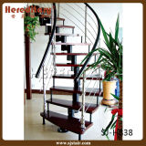 Modern Curved Rod Railing Steel Wood Straight Staircase (SJ-H816)