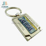 Hot Sell Alloy Casting Print Metal Silver Keychain para Promoção
