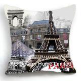 Elegantly Square Eiffel Tower Design Decor Fabric Cushion W/Filling