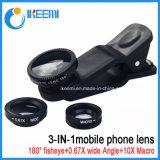 Smartphoneのカメラのために取り外し可能な1枚の広角のマイクロマクロフィッシュアイレンズに付き3枚