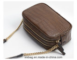 Moda PU Crocodile Grain Crossbody Bag Metal Chain Bag