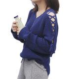 Malhas irregular da forma das luvas das mulheres, camisola do outono/inverno