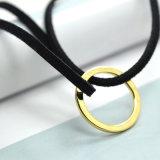Doppie collane di cuoio nere rotonde vuote del Choker placcate oro