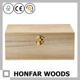 Незаконченная сырцовая коробка хранения коробки подарка твердой древесины для DIY