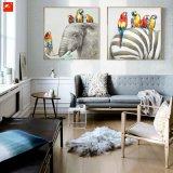 Papegaaien en Hun Schilderen van de Kunst van de Muur van de Olifant van Vrienden het Gestreepte
