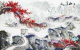 Het hooggebergte en het Schilderen van het Lopende Water met de rood-Bekroonde Boten van de Kraan op het Landschap van Rivieren en van Dorpen modelleren Nr.: Wl-0219