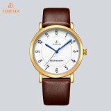 Relógio retro de aço inoxidável de quartzo de moda com relógio unisex com pulseira de couro 72767