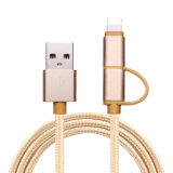 Nylon Metal Braided 2 in 1 for Android Samsung Charging Micro Data USB Cable