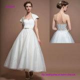 Trägerlose Schatz-Tee-Länge einfaches A - Zeile Hochzeits-Kleid