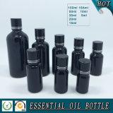 Frasco de petróleo essencial de vidro colorido preto do conta-gotas